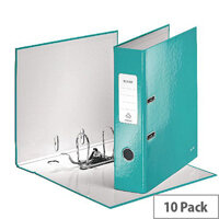 Leitz 180° WOW 80mm Ice Blue A4 Lever Arch File 10 Pack 10050051