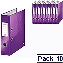 Leitz 180 Wow 80mm Purple A4 Lever Arch File Pack of 10