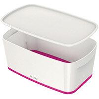 Leitz MyBox Small Storage Box With Lid White/Pink 52291023 PK 4