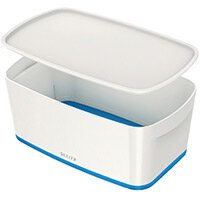 Leitz MyBox Small Storage Box With Lid White/Blue 52291036 PK 4