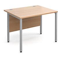 Maestro 25 SL straight desk 1000mm x 800mm - silver H-Frame, beech top