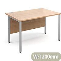 Maestro 25 SL straight desk 1200mm x 800mm - silver H-Frame, beech top