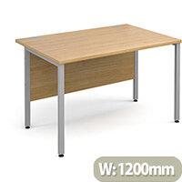 Maestro 25 SL straight desk 1200mm x 800mm - silver H-Frame, oak top