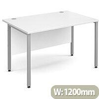 Maestro 25 SL straight desk 1200mm x 800mm - silver H-Frame, white top