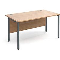 Maestro 25 GL straight desk 1400mm x 800mm - graphite H-Frame, beech top