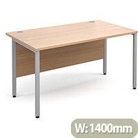 Maestro 25 SL straight desk 1400mm x 800mm - silver H-Frame, beech top