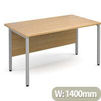 Maestro 25 SL straight desk 1400mm x 800mm - silver H-Frame, oak top