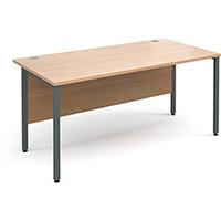 Maestro 25 GL straight desk 1600mm x 800mm - graphite H-Frame, beech top