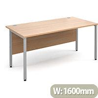 Maestro 25 SL straight desk 1600mm x 800mm - silver H-Frame, beech top