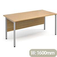 Maestro 25 SL straight desk 1600mm x 800mm - silver H-Frame, oak top