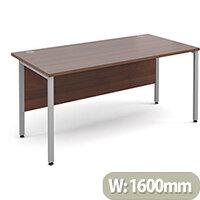 Maestro 25 SL straight desk 1600mm x 800mm - silver H-Frame, walnut top