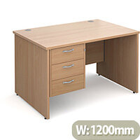Maestro 25 PL straight desk with 3 drawer pedestal 1200mm - beech panel leg design