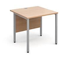 Maestro 25 SL straight desk 800mm x 800mm - silver H-Frame, beech top