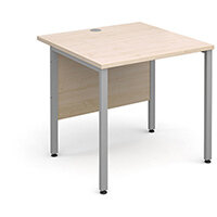 Maestro 25 SL straight desk 800mm x 800mm - silver H-Frame, maple top
