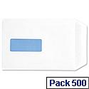 C5 Window White 90gsm Envelopes Pocket Press Seal Pack 500 5 Star
