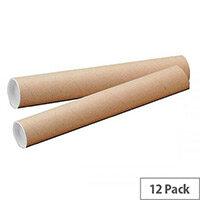 Brown Kraft 1140x102mm Cardboard Postal Tubes (12 Pack)