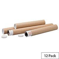 Brown Kraft 610x76mm Cardboard Postal Tubes Pack of 12