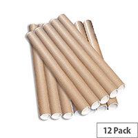 Brown Kraft 890x76mm Cardboard Postal Tubes Pack of 12