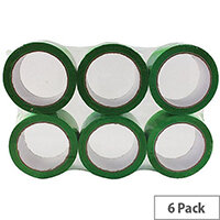 Green Polypropylene Packing Tape 50mm x 66m (6 Pack)
