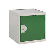 One Compartment Cube Locker Light Grey Body & Green Door 300x300x300mm MC00088