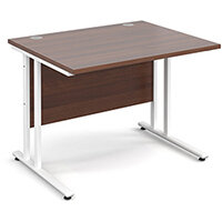 Maestro 25 WL straight desk 1000mm x 800mm - white cantilever frame, walnut top