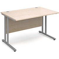 Maestro 25 SL straight desk 1200mm x 800mm - silver cantilever frame, maple top