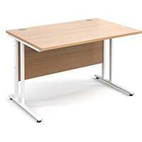 Maestro 25 WL straight desk 1200mm x 800mm - white cantilever frame, beech top