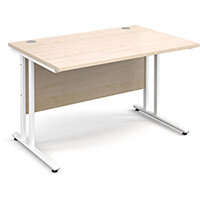 Maestro 25 WL straight desk 1200mm x 800mm - white cantilever frame, maple top