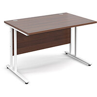 Maestro 25 WL straight desk 1200mm x 800mm - white cantilever frame, walnut top