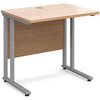 Maestro 25 SL straight desk 800mm x 600mm - silver cantilever frame, beech top