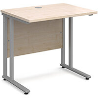 Maestro 25 SL straight desk 800mm x 600mm - silver cantilever frame, maple top