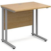 Maestro 25 SL straight desk 800mm x 600mm - silver cantilever frame, oak top