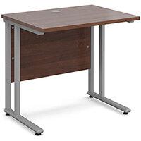 Maestro 25 SL straight desk 800mm x 600mm - silver cantilever frame, walnut top