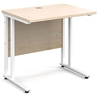 Maestro 25 WL straight desk 800mm x 600mm - white cantilever frame, maple top