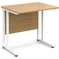 Maestro 25 WL straight desk 800mm x 600mm - white cantilever frame, oak top