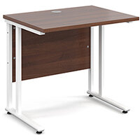 Maestro 25 WL straight desk 800mm x 600mm - white cantilever frame, walnut top