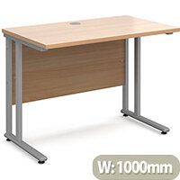 Maestro 25 SL straight desk 1000mm x 600mm - silver cantilever frame, beech top