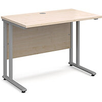 Maestro 25 SL straight desk 1000mm x 600mm - silver cantilever frame, maple top