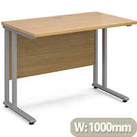 Maestro 25 SL straight desk 1000mm x 600mm - silver cantilever frame, oak top