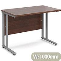 Maestro 25 SL straight desk 1000mm x 600mm - silver cantilever frame, walnut top