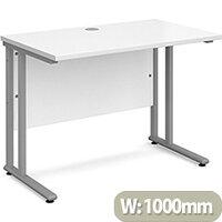 Maestro 25 SL straight desk 1000mm x 600mm - silver cantilever frame, white top
