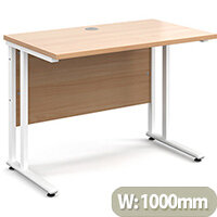 Maestro 25 WL straight desk 1000mm x 600mm - white cantilever frame, beech top