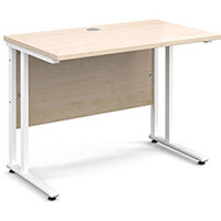 Maestro 25 WL straight desk 1000mm x 600mm - white cantilever frame, maple top