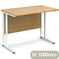 Maestro 25 WL straight desk 1000mm x 600mm - white cantilever frame, oak top