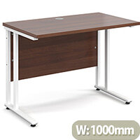 Maestro 25 WL straight desk 1000mm x 600mm - white cantilever frame, walnut top