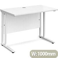Maestro 25 WL straight desk 1000mm x 600mm - white cantilever frame, white top