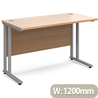 Maestro 25 SL straight desk 1200mm x 600mm - silver cantilever frame, beech top