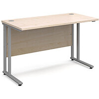Maestro 25 SL straight desk 1200mm x 600mm - silver cantilever frame, maple top