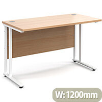 Maestro 25 WL straight desk 1200mm x 600mm - white cantilever frame, beech top