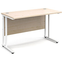 Maestro 25 WL straight desk 1200mm x 600mm - white cantilever frame, maple top